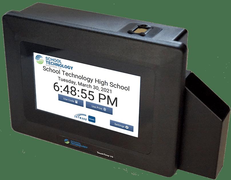 Touch Clock running School Technology's interface for Skyward Qmlativ